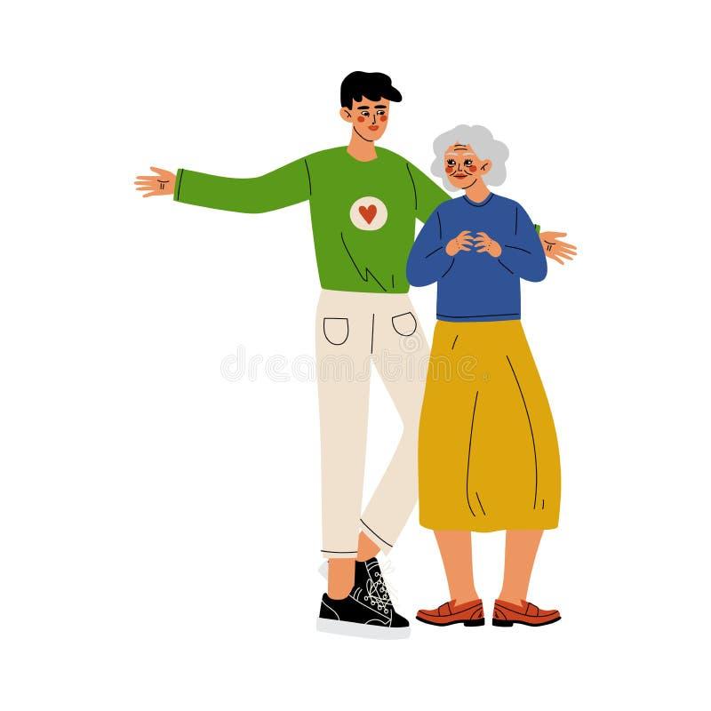 Мужская добровольная помогая пожилая женщина, социальный работник, вызываться добровольцем, призрение и поддерживая иллюстрация в бесплатная иллюстрация
