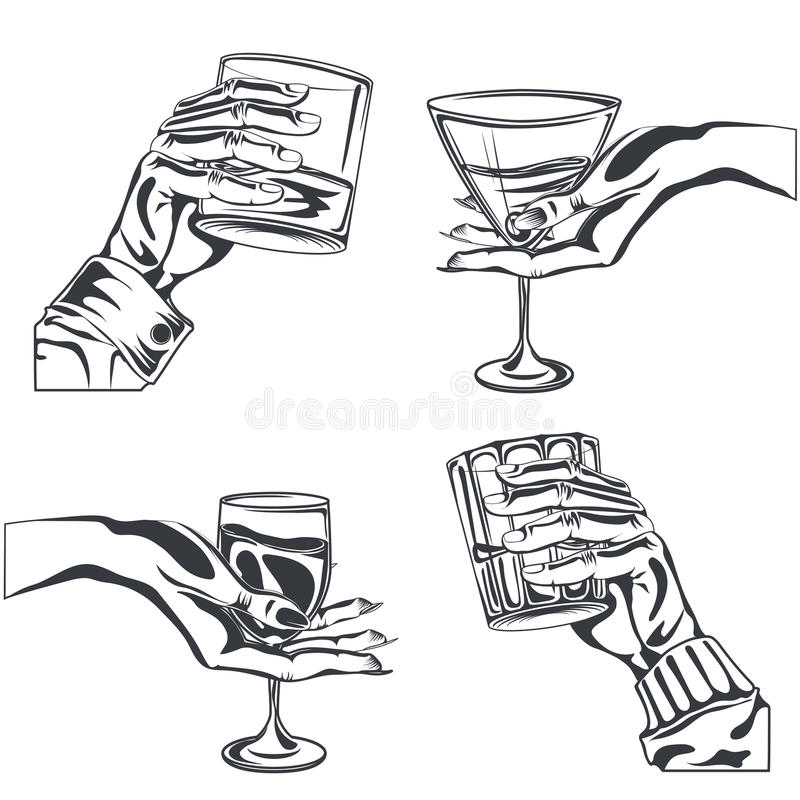 Мужская женская рука держа стеклянное питье спирта иллюстрация вектора