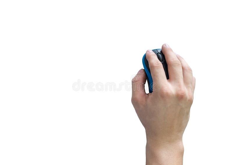 Мужская мышь щелчка удерживания руки на предпосылке стоковое фото