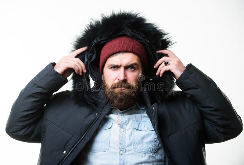 Мужская одежда зимы стильное Parka куртки бородатой стойки человека теплый изолированный на белой предпосылке Обмундирование зимы стоковое фото rf
