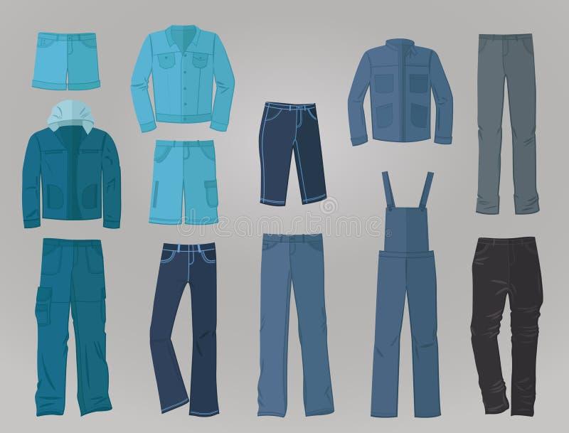 Мужская одежда джинсовой ткани в плоском дизайне бесплатная иллюстрация