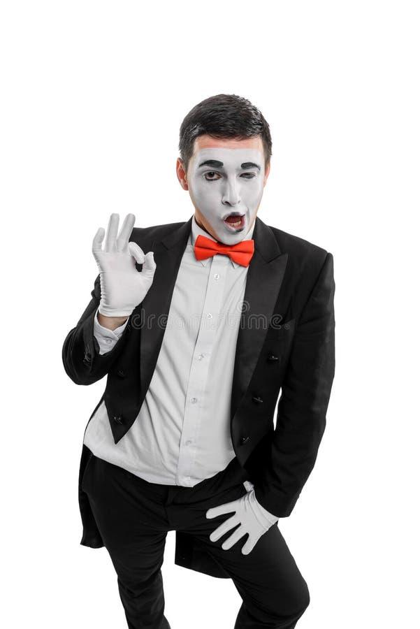 Мужская пантомима показывая alright знак стоковая фотография rf