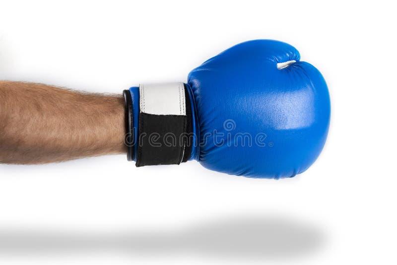 Мужская рука в голубой кладя в коробку перчатке на белой предпосылке Пинок бокса стоковые изображения rf