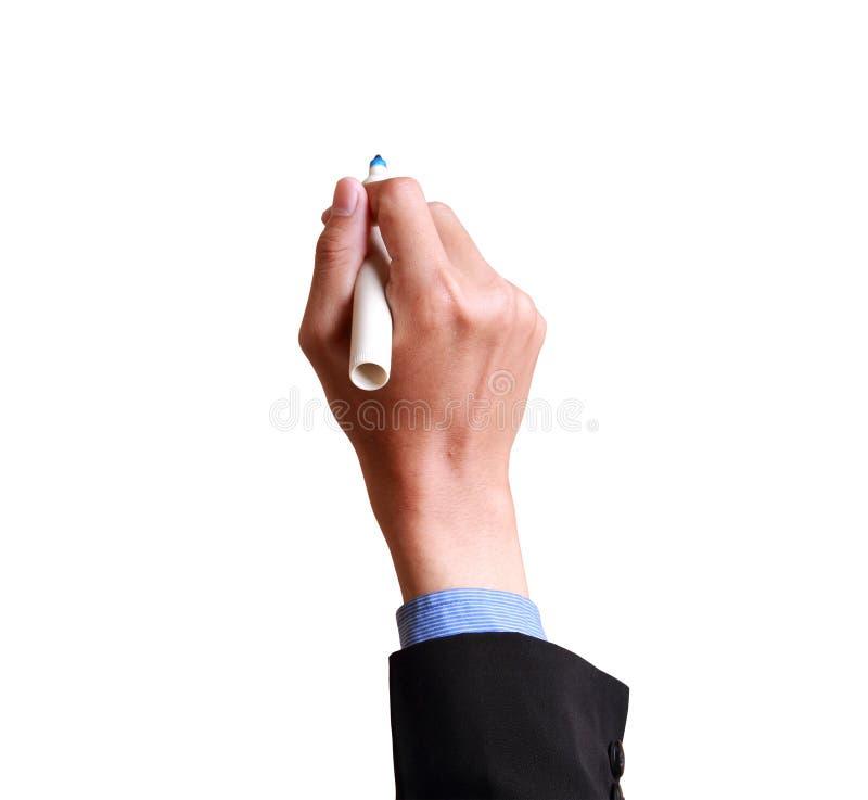 Мужская рука готова для рисовать с отметкой стоковая фотография