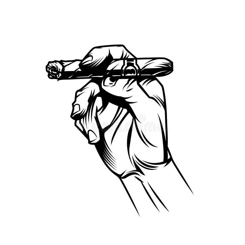 Мужская рука держа горящую кубинскую сигару бесплатная иллюстрация