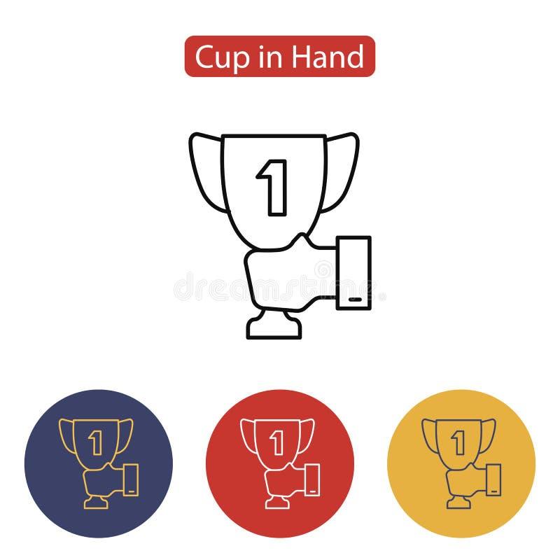 Мужская рука держа значок чашки победителя бесплатная иллюстрация
