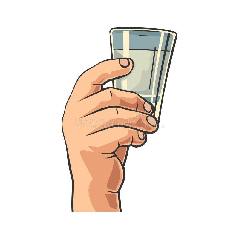 Мужская рука держа стекло с водочкой Винтажная иллюстрация гравировки вектора для ярлыка, плаката, приглашения party иллюстрация штока