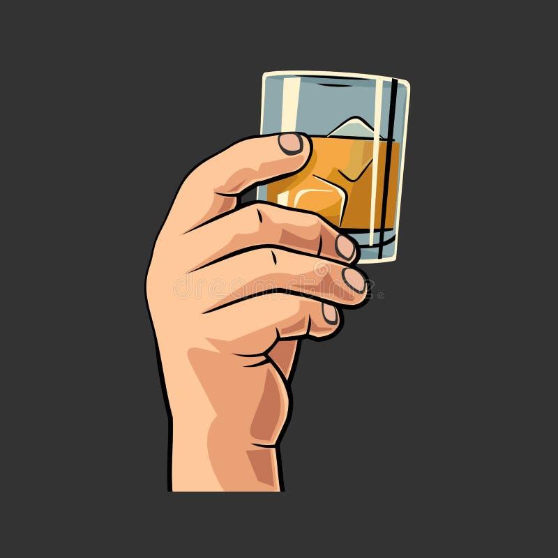 Мужская рука держа стекло с кубами вискиа и льда Винтажная иллюстрация гравировки вектора для ярлыка, плаката, приглашения party иллюстрация вектора