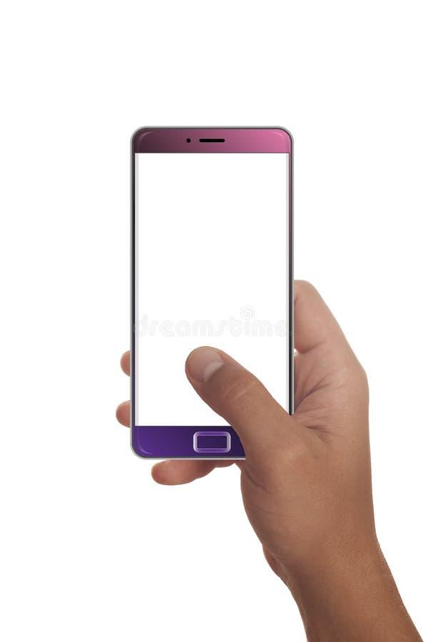 Мужская рука держа современный smartphone стоковое изображение