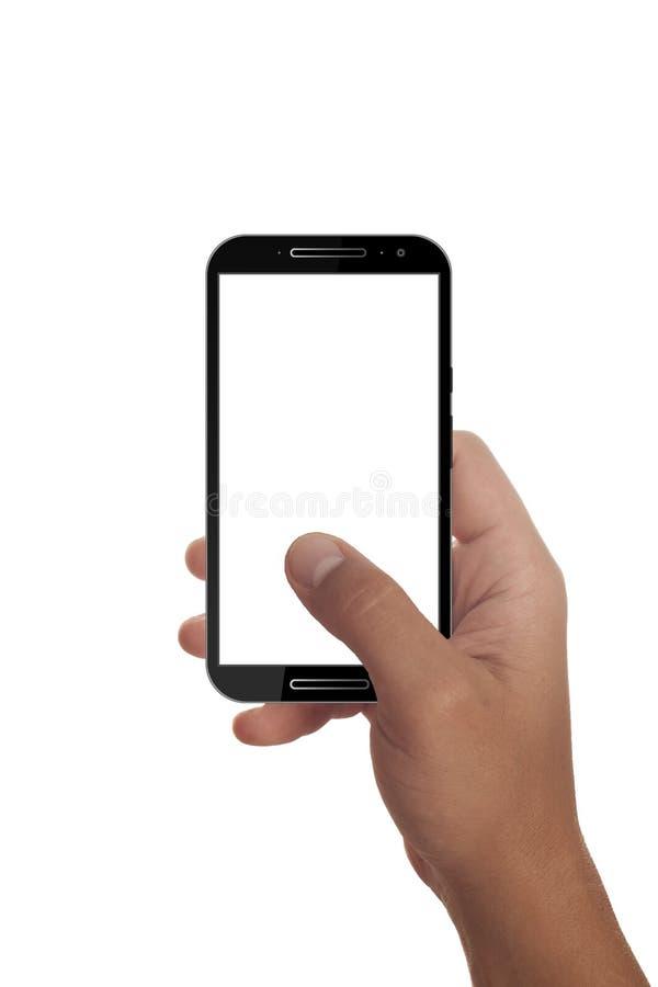 Мужская рука держа современный smartphone стоковые изображения rf