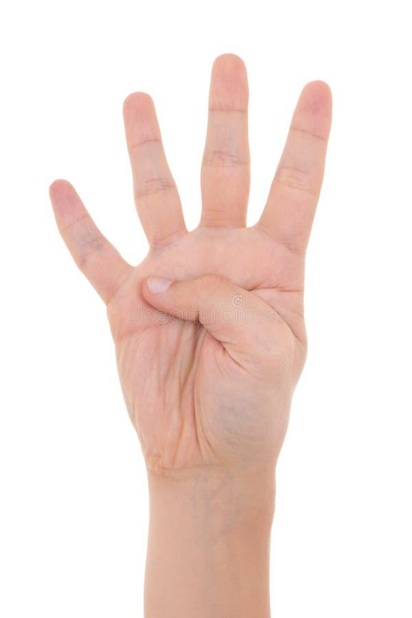 Мужская рука показывая 4 пальца изолированного на белизне стоковая фотография rf