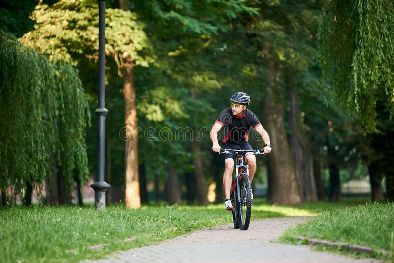 Мужская тренировка велосипедиста в зеленом парке стоковое фото rf