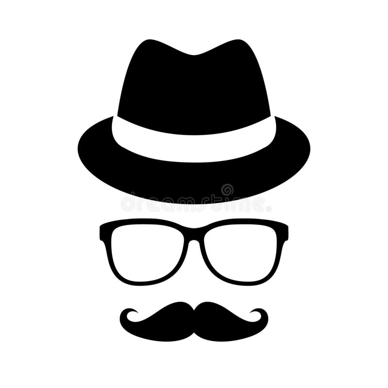 Мужская шляпа и очки ретро бесплатная иллюстрация