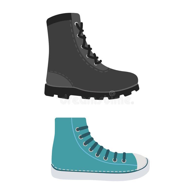 Мужские ботинки сезона человека в плоском стиле Иллюстрация вектора людей изолированная ботинками установленная иллюстрация вектора