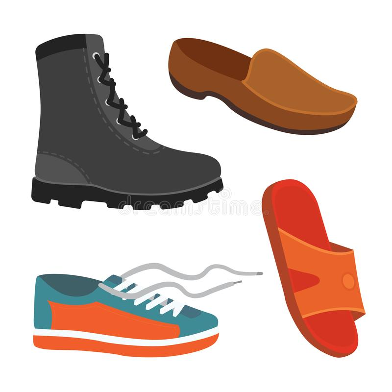 Мужские ботинки сезона человека в плоском стиле Иллюстрация вектора людей изолированная ботинками установленная бесплатная иллюстрация