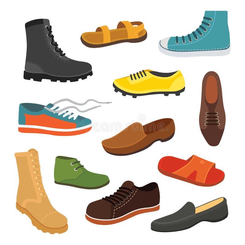 Мужские ботинки сезона человека в плоском стиле Иллюстрация вектора людей изолированная ботинками установленная иллюстрация штока