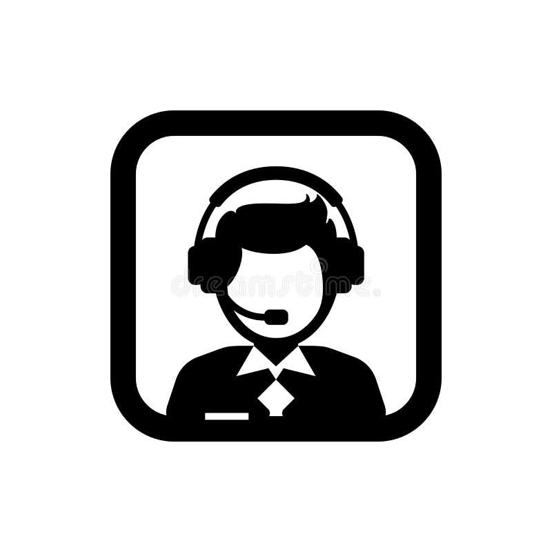 Мужские вспомогательное обслуживание/забота клиента/значок силуэта обслуживания клиента/администратора Квадратный значок иллюстрация вектора