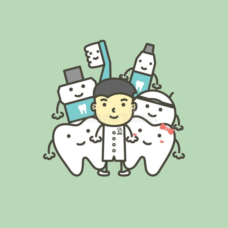 Мужские дантист и лучший друг здорового зуба семьи - концепции зубоврачебной заботы иллюстрация штока
