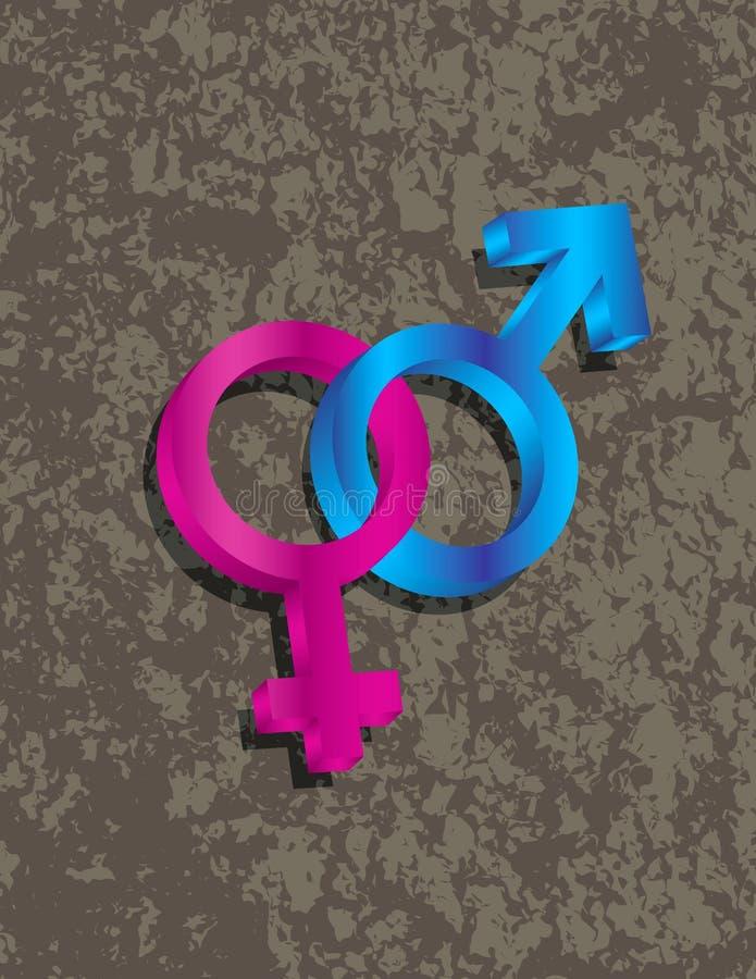 Мужские женские символы рода 3D блокируя Illustr иллюстрация штока