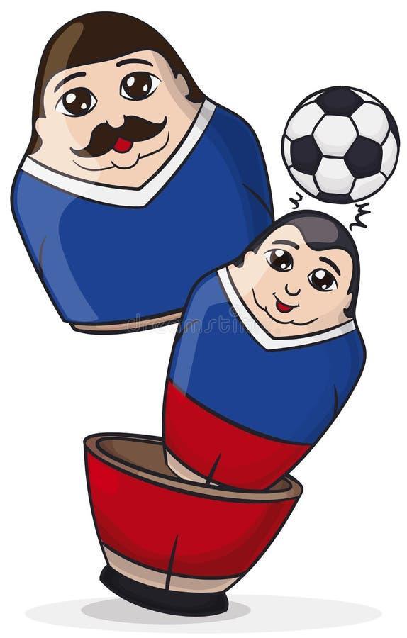Мужские куклы Matryoshka, одна внутренность другое возглавляя футбольный мяч, иллюстрацию вектора бесплатная иллюстрация