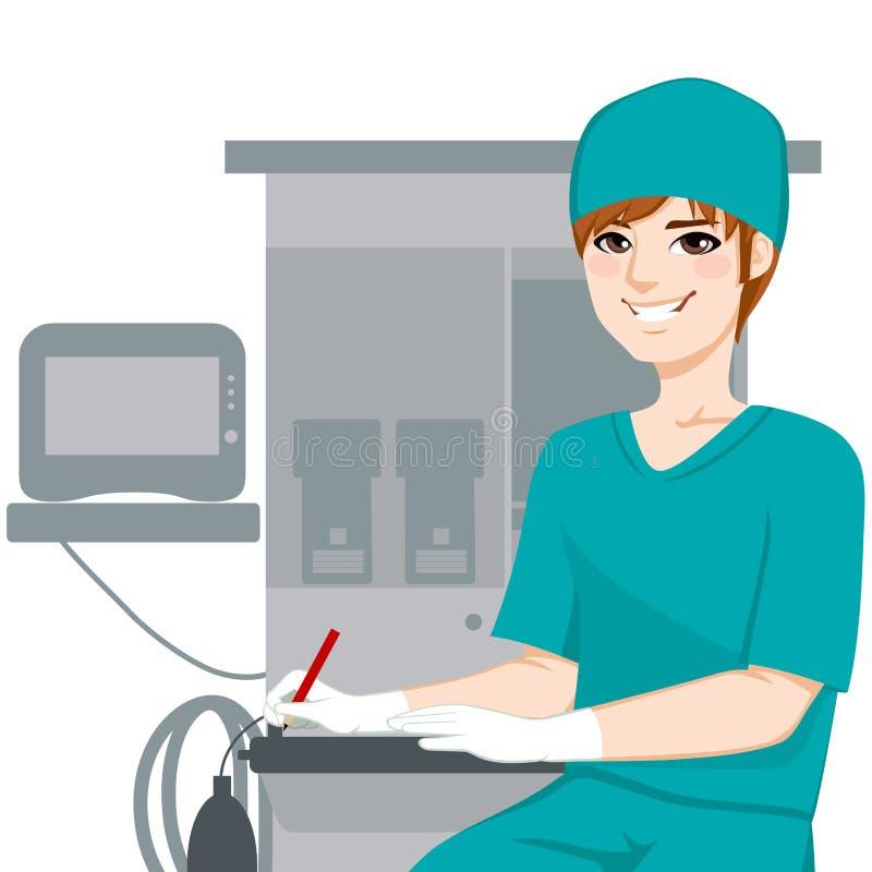 Мужские документы сочинительства медсестры иллюстрация вектора