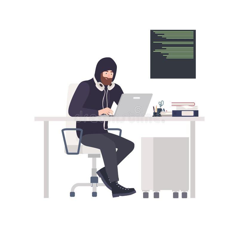 Мужские похититель или хакер нося черные одежды, сидя на столе, рубя компьютер и крадя персональную информацию Кибер бесплатная иллюстрация