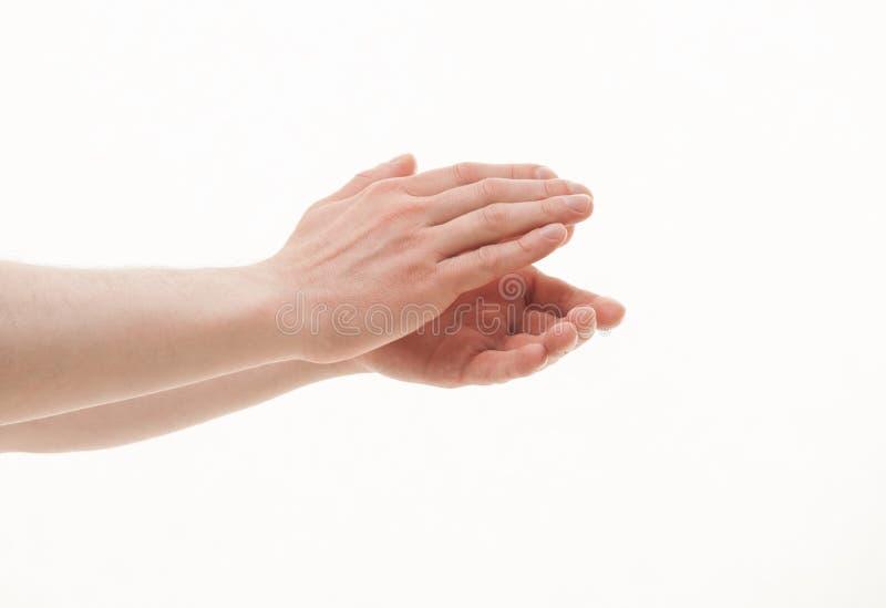Мужские руки аплодируя стоковые изображения