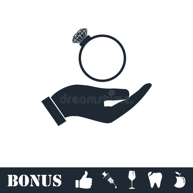 Мужские руки держа значок обручального кольца плоско бесплатная иллюстрация