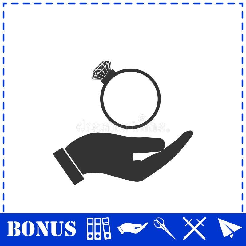 Мужские руки держа значок обручального кольца плоско иллюстрация вектора