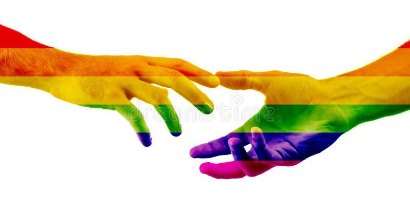 Мужские руки покрасили как флаг радуги достигая вне друг к другу на белой предпосылке Концепция LGBT стоковые фото