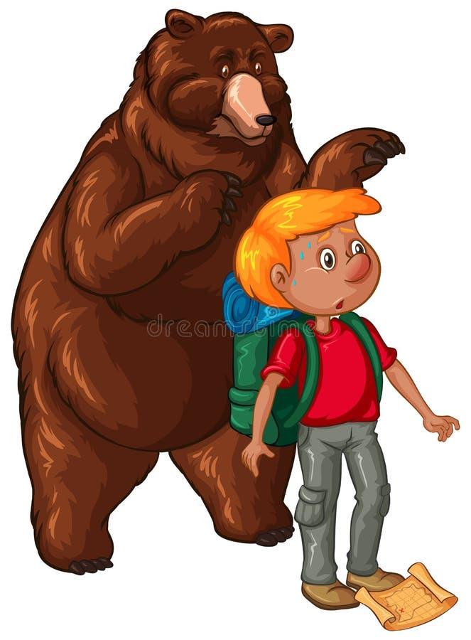 Мужские hiker и бурый медведь иллюстрация вектора