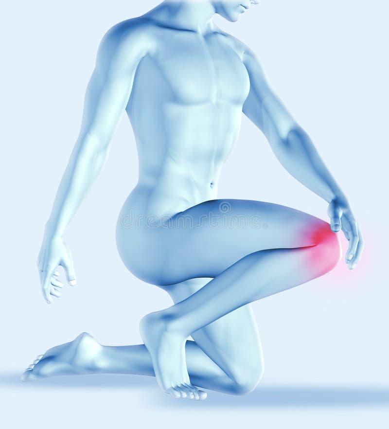 мужское держа колено 3D в боли иллюстрация штока
