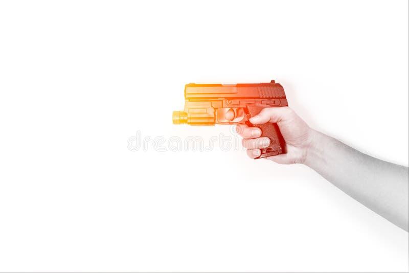 Мужское оружие пистолета владением руки или автоматическое личное огнестрельное оружие стоковые изображения