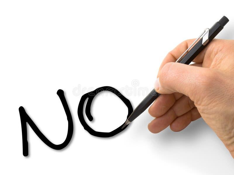 Мужское ` сочинительства руки отсутствие ` в прописных буквах на пустой карточке изолированной на белизне стоковое изображение