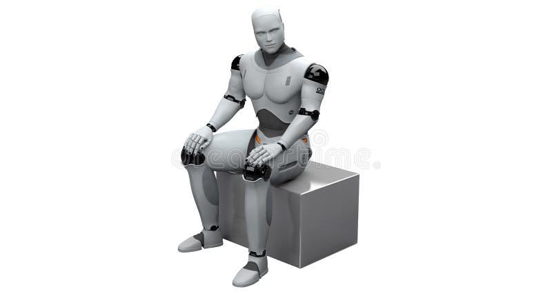 Мужское усаживание робота иллюстрация вектора