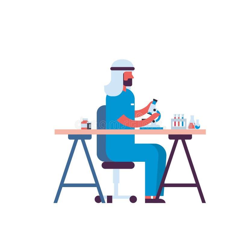 Мужской арабский ученый работая с микроскопом в лаборатории делая человека исследования арабского делая доктора научных экспериме иллюстрация штока