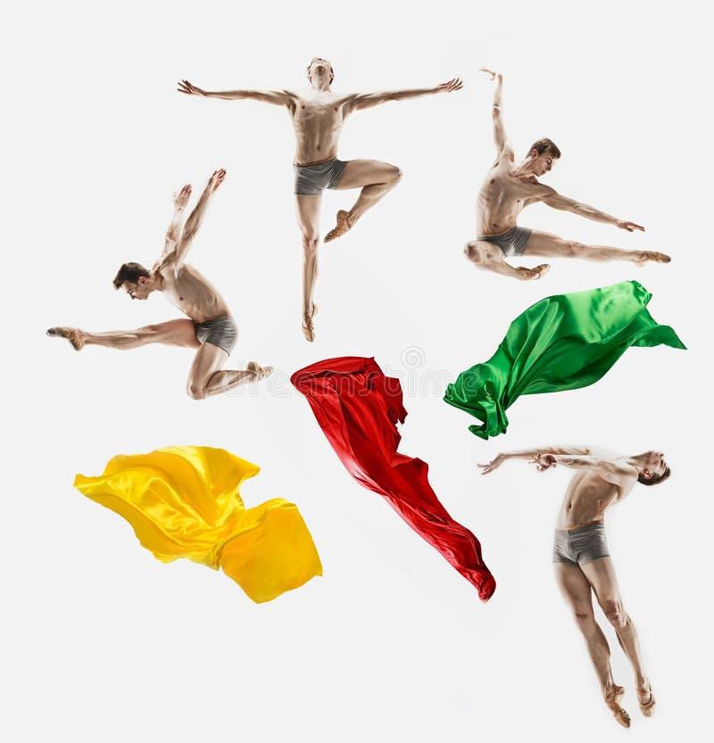 Мужской атлетический артист балета выполняя танец изолированный на белой предпосылке стоковые изображения