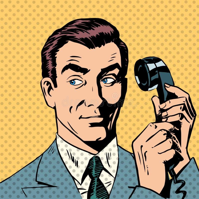 Мужской бизнесмен говоря на шипучке стиля телефона иллюстрация вектора