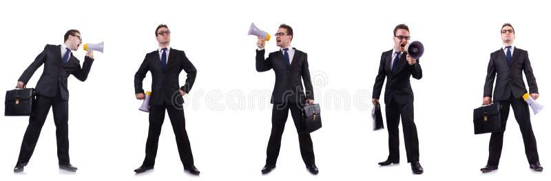 Мужской босс с мегафоном изолированным на белизне стоковые изображения rf
