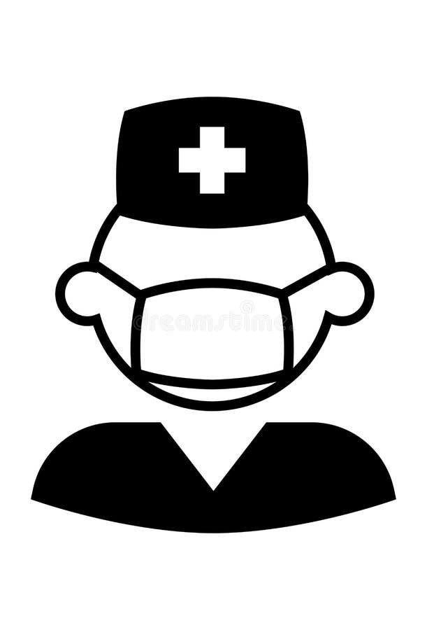 Мужской вектор значка медсестры бесплатная иллюстрация