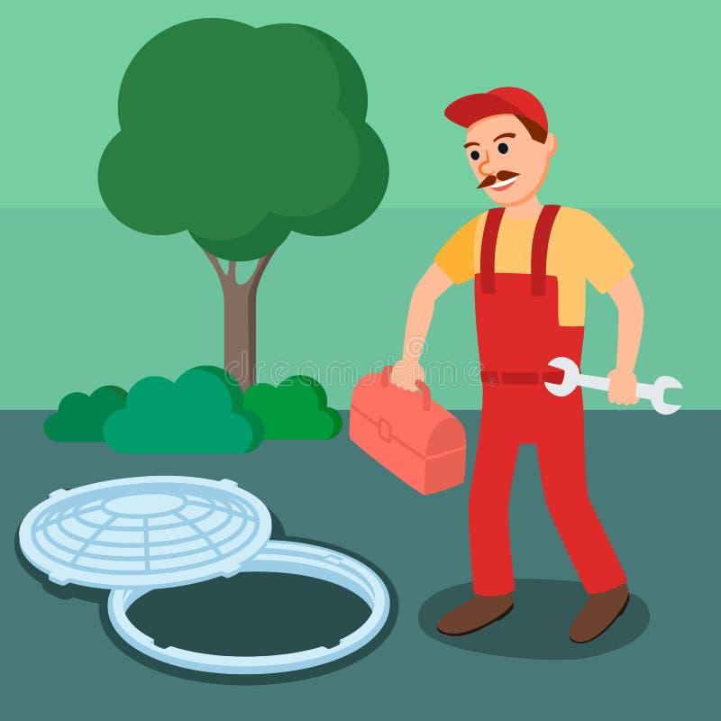 Мужской водопроводчик в форме с Toolbox и гаечным ключом иллюстрация штока