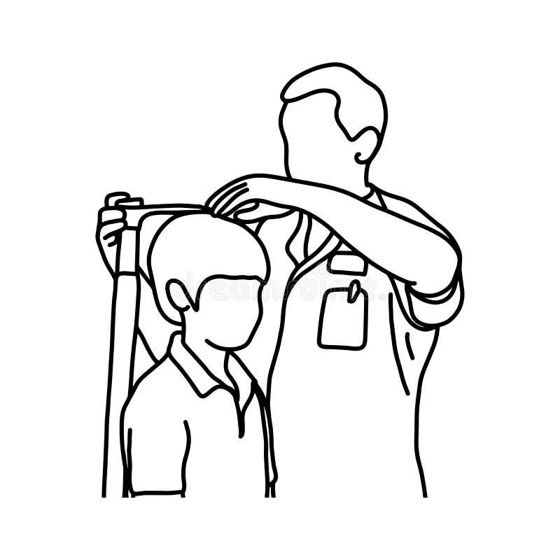 Мужской доктор измеряя настоящую высоту его молодого мужского patie иллюстрация вектора