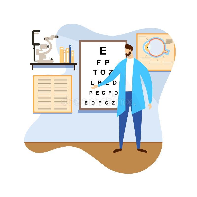 Мужской доктор Doing Зрение Проверка Вверх Здравоохранение бесплатная иллюстрация