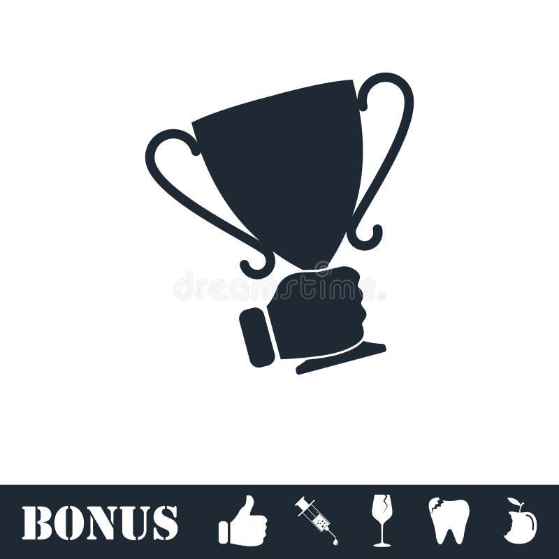 Мужской значок чашки победителя удерживания руки плоско иллюстрация вектора