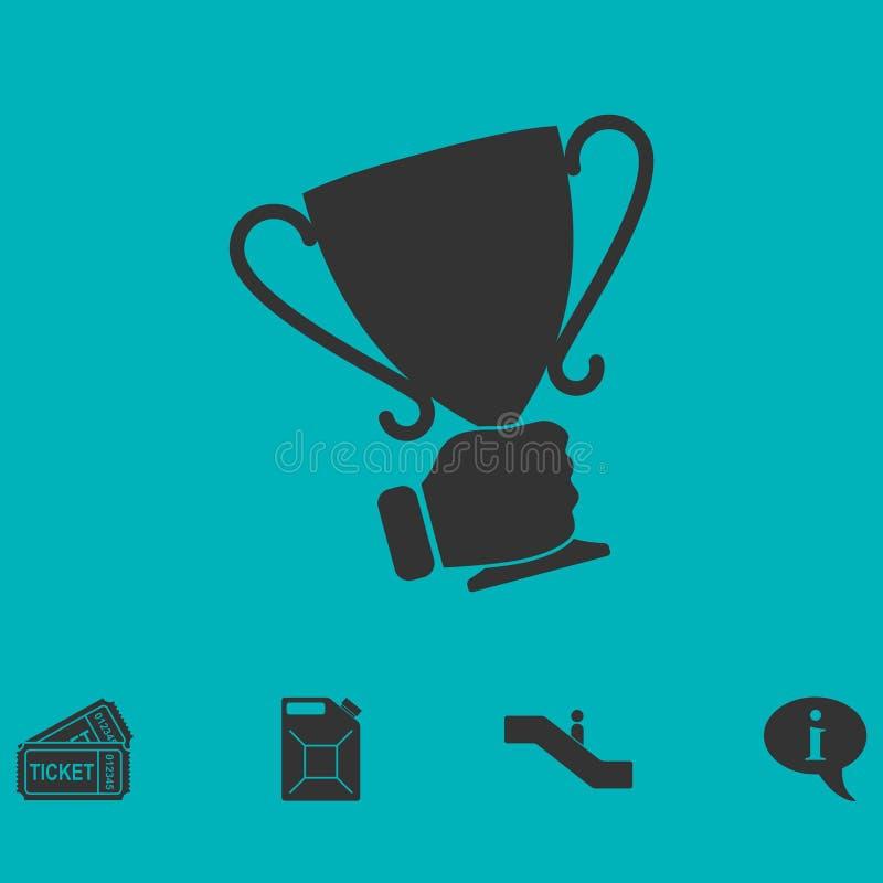 Мужской значок чашки победителя удерживания руки плоско бесплатная иллюстрация