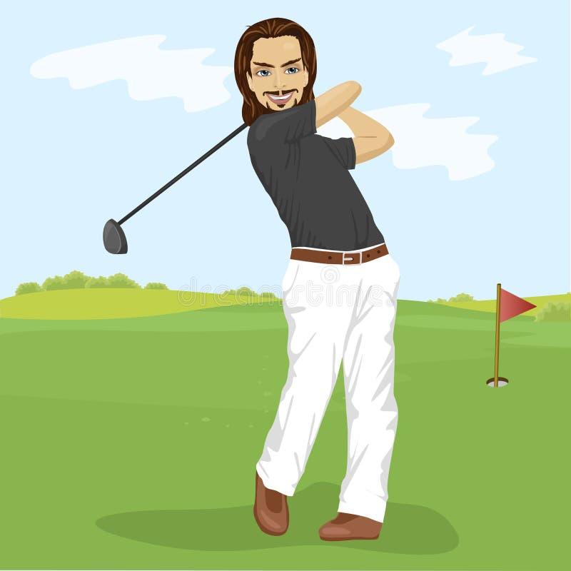 Мужской игрок в гольф ударяя съемку гольфа с клубом на курсе бесплатная иллюстрация