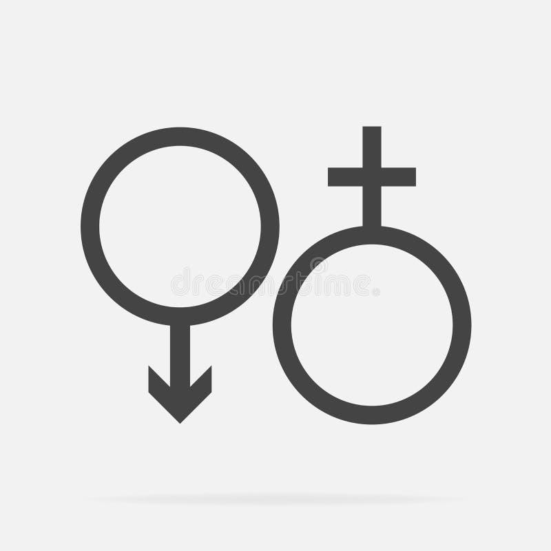 Мужской и женский комплект символа Значок вектора рода иллюстрация вектора