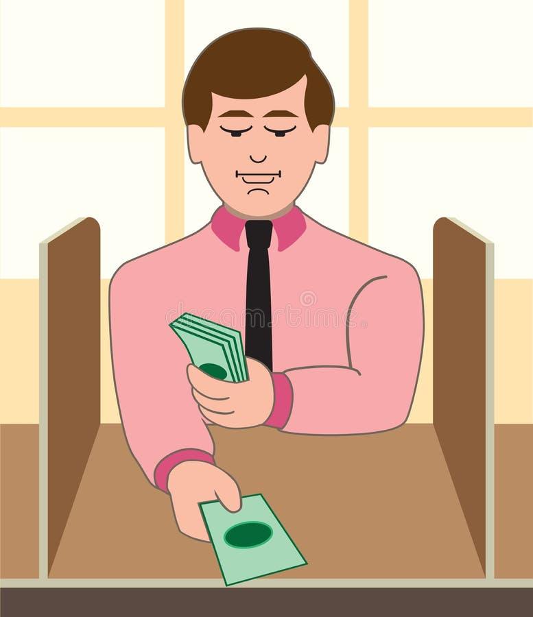 Мужской кассир банка иллюстрация штока