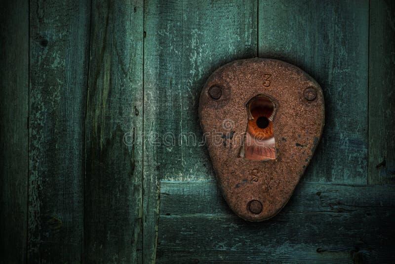 Мужской коричневый глаз смотря через keyhole Концепция страха стоковое фото