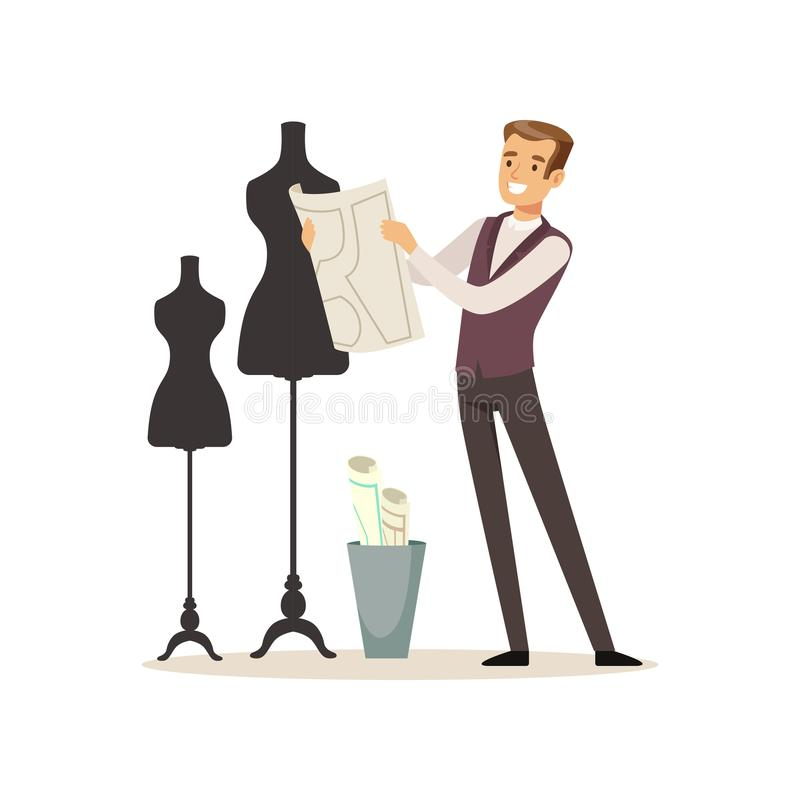 Мужской модельер стоя около куклы, ателье мод портноя работая на atelier vector иллюстрация бесплатная иллюстрация